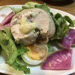 【オヤジ料理健在】今夜の晩御飯は、鶏ハムをアレンジ。ホルモンも。