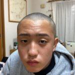 【中2次男坊、断髪式⁉️】お洒落な髪型で試合出てたけど、遂に丸刈りに。